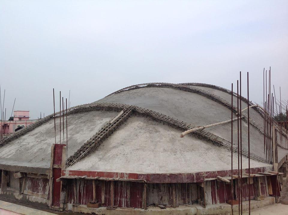 Крыша самадхи в процессе изготовления